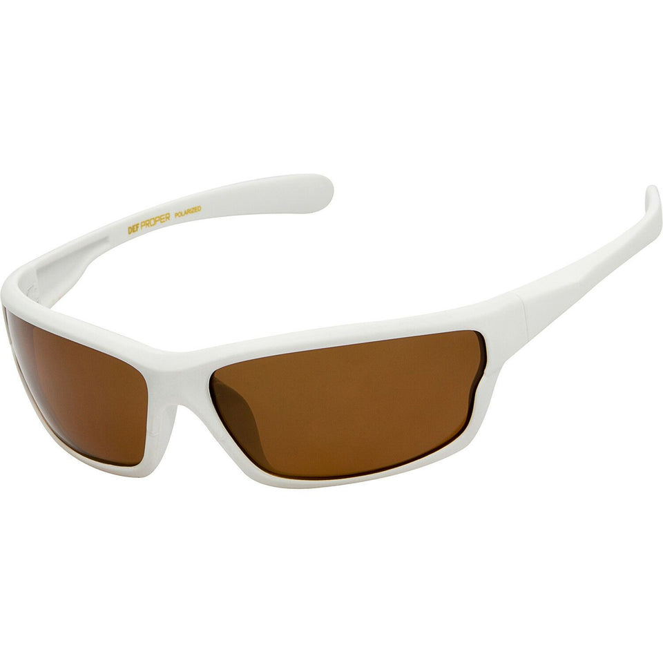 DPElite™ Men's Anti-Glare Polarized Sports Sunglasses sunglasses DPElite™ Fashions White Matte Rubberized | Amber