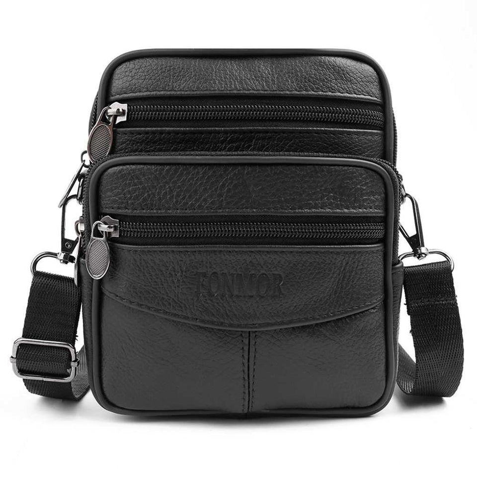 F&M™ Men's Leather Crossbody Messenger Satchel Small Shoulder Bag bag F&M™ Fashion Black United States