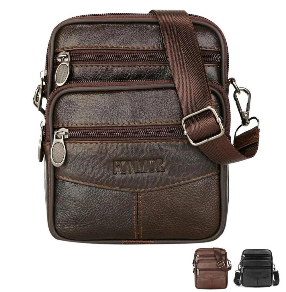F&M™ Men's Leather Crossbody Messenger Satchel Small Shoulder Bag crossbody bag F&M™ Fashion