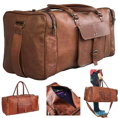 GBLeatherZ™ Men's 100% Leather 25in Vintage Overnight Duffle Weekend Travel Bag Duffle Travel Bag GBLeatherZ™