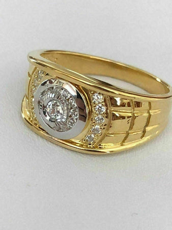 iSilver™ Men's 14k Gold & .925 Sterling Silver ICY Diamond Ring (Size 7-13) men's ring iSilver™ Fashion