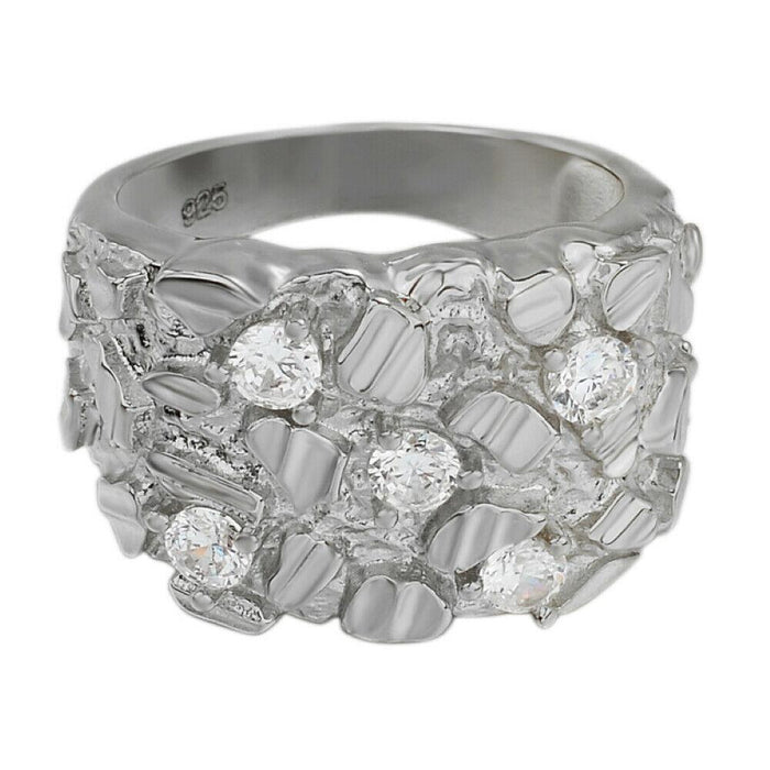 iSilver™ Men's .925 Sterling Silver ICY Hip Hop Nugget Diamond Ring men's ring iSilver™ Fashion