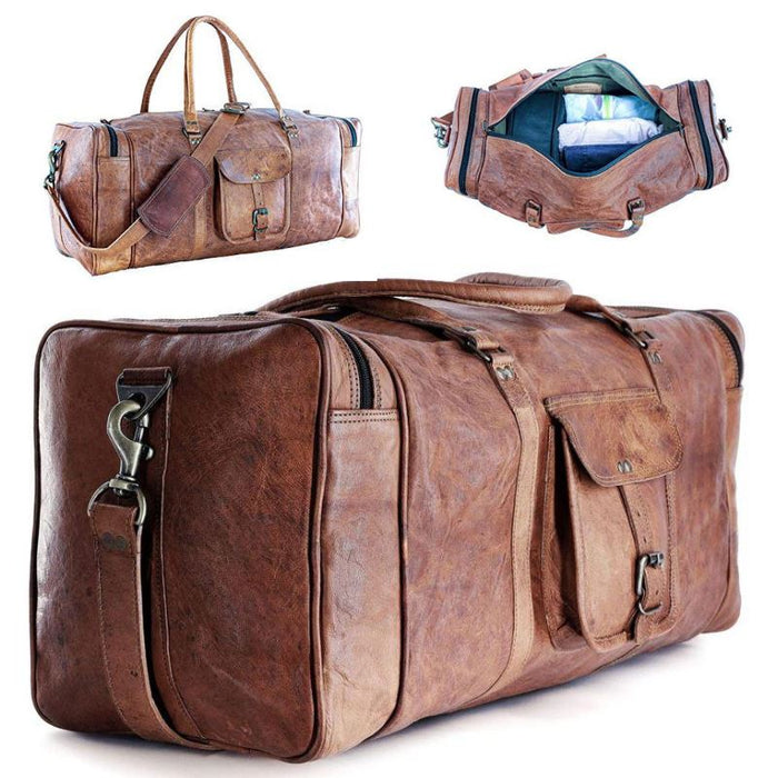 KPLeatherZ™ Men's FULL-Grain Leather 24in Brown Duffle Weekend Travel Bag Duffle Travel Bag KPLeatherZ™