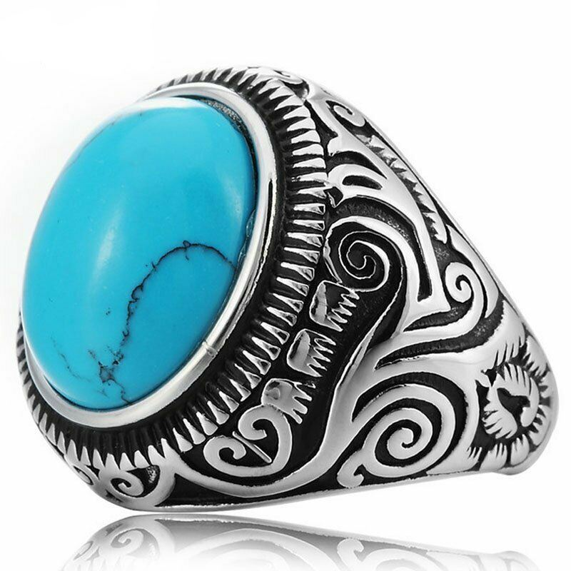 MDL™ Men's Native Indian Stainless Steel Oval Turquoise Ring (Size 7-15) men's ring MDL™ Fashion
