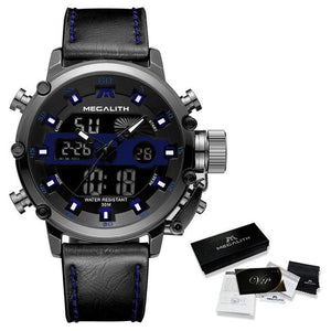 MGLX™ Men's Business Sport Quartz Luminous Wrist Watch business watch MGLX™ Fashion Leather Blue
