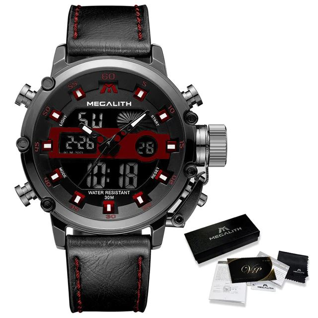 MGLX™ Men's Business Sport Quartz Luminous Wrist Watch business watch MGLX™ Fashion Leather Red