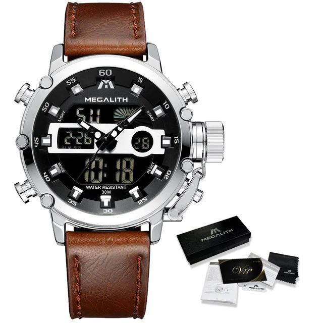 MGLX™ Men's Business Sport Quartz Luminous Wrist Watch business watch MGLX™ Fashion Leather Silver
