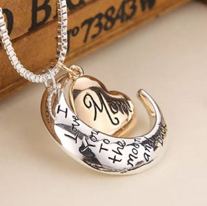Mother's Day 'I Love You To The Moon & Back' Necklace Heart Pendant & Chain Gift EliteDealsOutlet