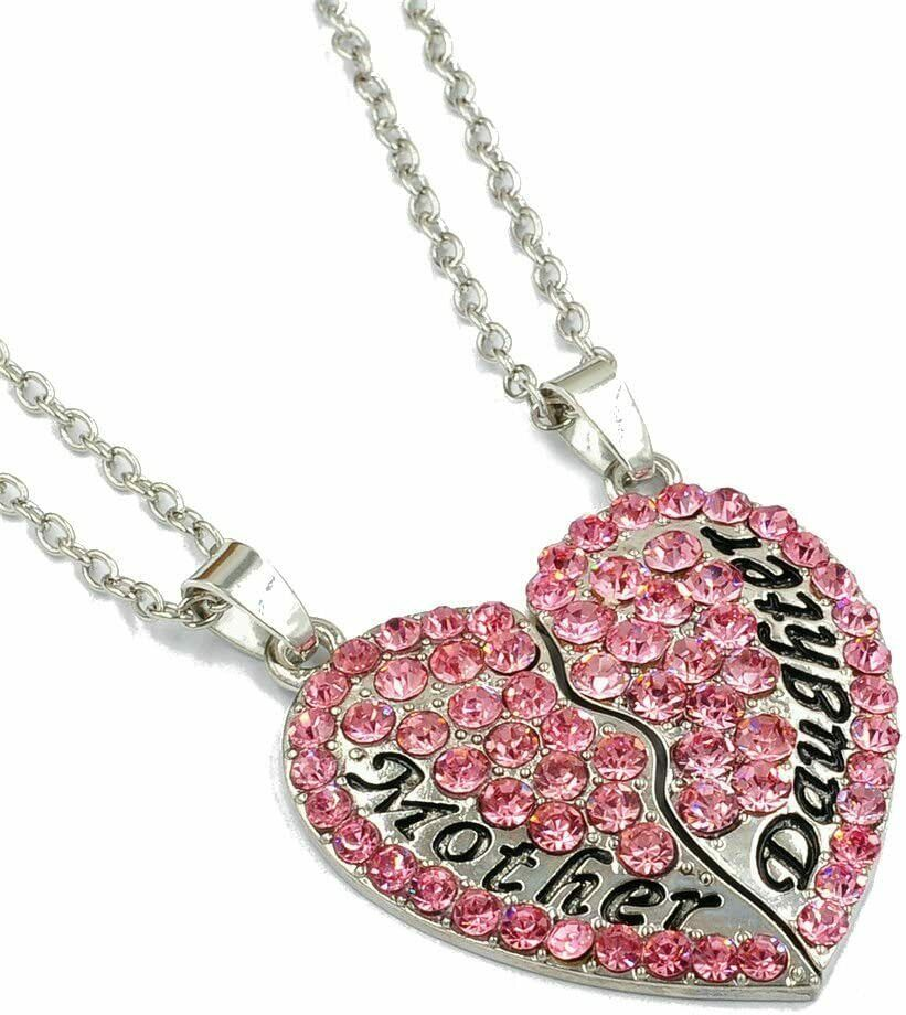 Mother's Day 'Mother & Daughter' 2-Piece Heart Pink Crystal Rhinestone Necklace Pendant & Chain Gift EliteDealsOutlet