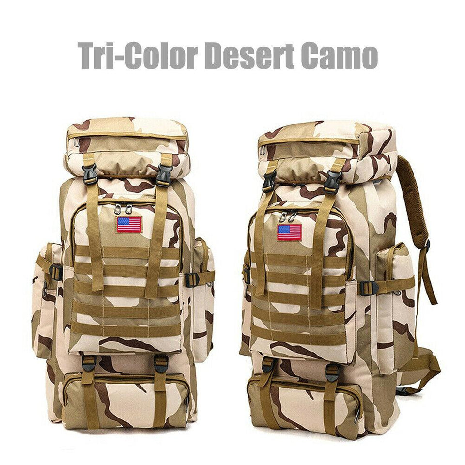 MRoyale™ 80L Military Tactical Army Molle Rucksack Assault Backpack tactical bag MRoyale™ Fashion Tri-Color Desert Camo