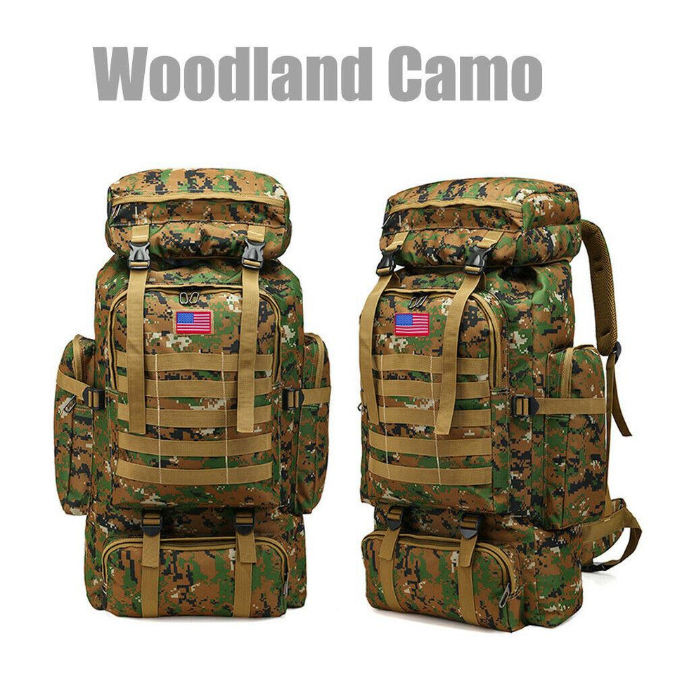 MRoyale™ 80L Military Tactical Army Molle Rucksack Assault Backpack tactical bag MRoyale™ Fashion Woodland Camo