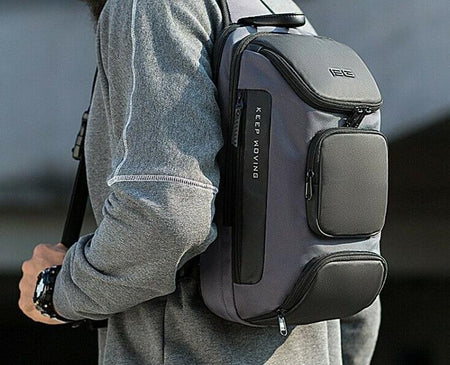 MROYALE BG™ Men's Anti-Theft Sling USB-Charging Chest Crossbody Shoulder Backpack Crossbody MRoyale™ Fashion Black