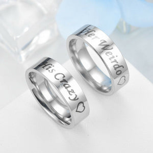MRoyale™ Couple's Matching Stainless Steel 'His Crazy/Her Weirdo' Wedding Band Ring arcoiris7979arcoiris7979