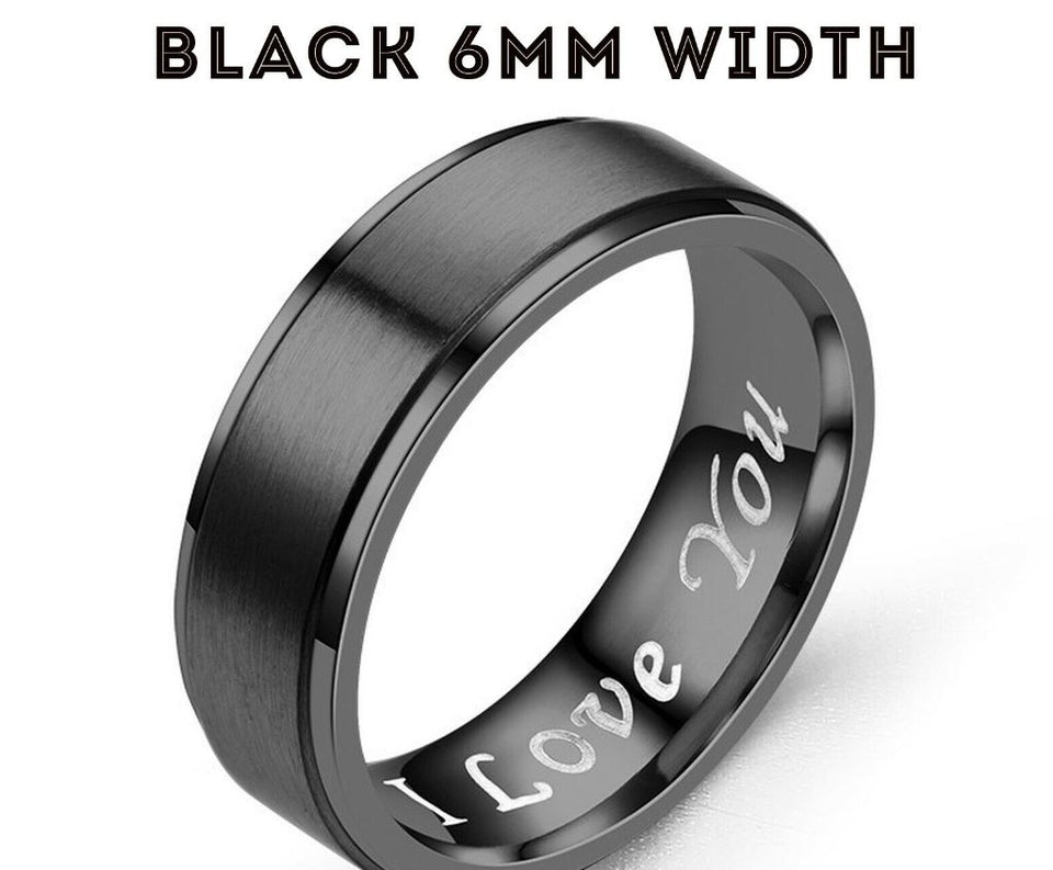 MRoyale™ Couple's Matching Stainless Steel 'I Love You' Wedding Band Ring men's ring MRoyale™ Fashion 5 Black 6mm