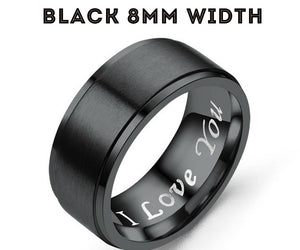 MRoyale™ Couple's Matching Stainless Steel 'I Love You' Wedding Band Ring men's ring MRoyale™ Fashion 5 Black 8mm