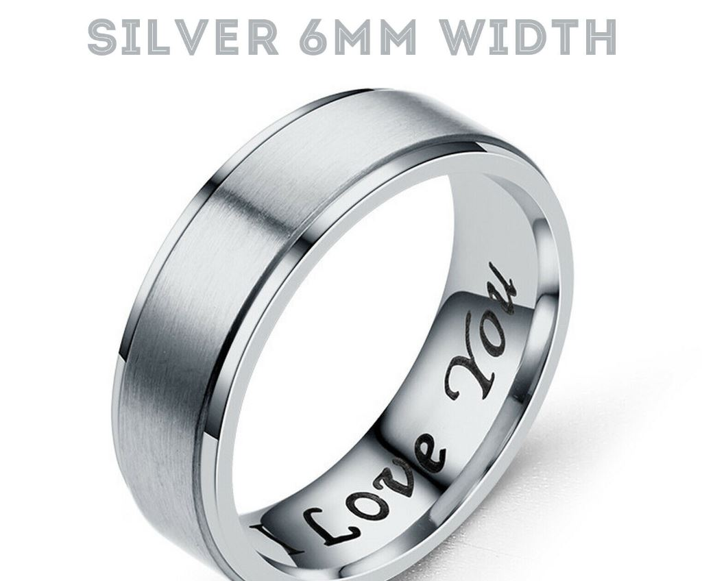 MRoyale™ Couple's Matching Stainless Steel 'I Love You' Wedding Band Ring men's ring MRoyale™ Fashion 5 Silver 6mm