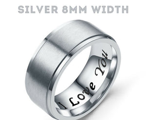 MRoyale™ Couple's Matching Stainless Steel 'I Love You' Wedding Band Ring men's ring MRoyale™ Fashion 5 Silver 8mm