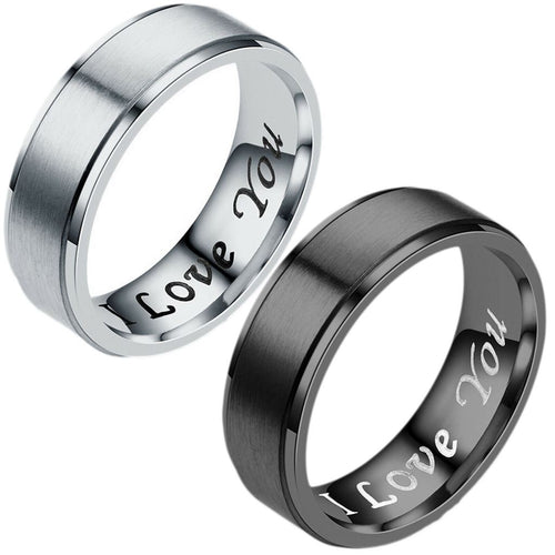 MRoyale™ Couple's Matching Stainless Steel 'I Love You' Wedding Band Ring men's ring MRoyale™ Fashion