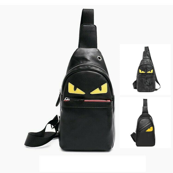 MROYALE EYES™ Men's Leather Sling Crossbody Shoulder Day Bag Mini Backpack Crossbody MROYALE EYES™