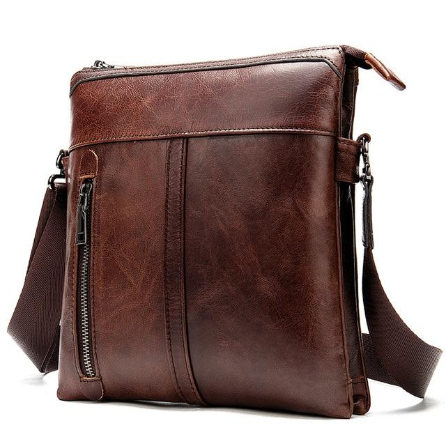 MRoyale™ Men's 100% Leather Crossbody Messenger Satchel Shoulder Bag crossbody bag MRoyale™ Fashion Red Coffee