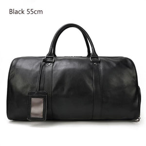 MROYALE™ MEN'S 100% LEATHER DUFFLE WEEKEND TRAVEL BAG w/ Shoe Storage bags elitedealsoutlet Black(55cm)