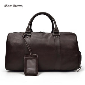 MROYALE™ MEN'S 100% LEATHER DUFFLE WEEKEND TRAVEL BAG w/ Shoe Storage bags elitedealsoutlet Brown (45cm)