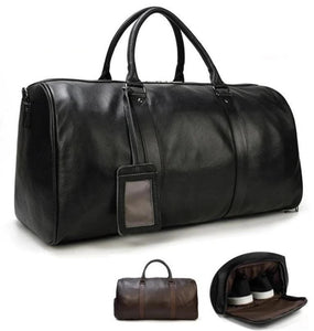 MRoyale™ Men's 100% Leather Duffle Weekend Travel Bag w/ Shoe Storage bags MRoyale™ Fashion