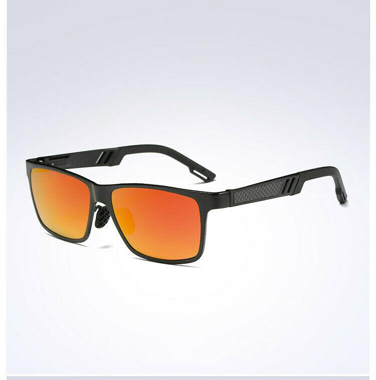 MRoyale™ Men's Aluminum Polarized Sunglasses sunglasses MRoyale™ Fashion Black w/ Orange Lens