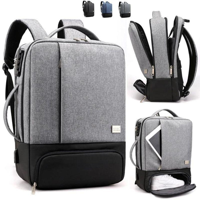 MRoyale™ Men's Anti-Theft Laptop Backpack w/ USB Charging Port + Shoe Storage Backpacks MRoyale™ Fashion Gray