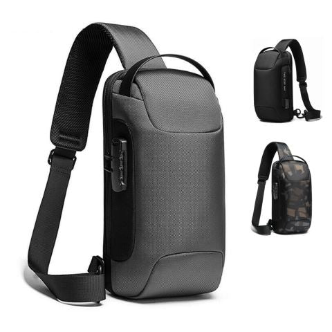 MROYALE™ Men's Anti-Theft Lock Sling USB-Charging Chest Crossbody Shoulder Backpack Crossbody MRoyale™ Fashion