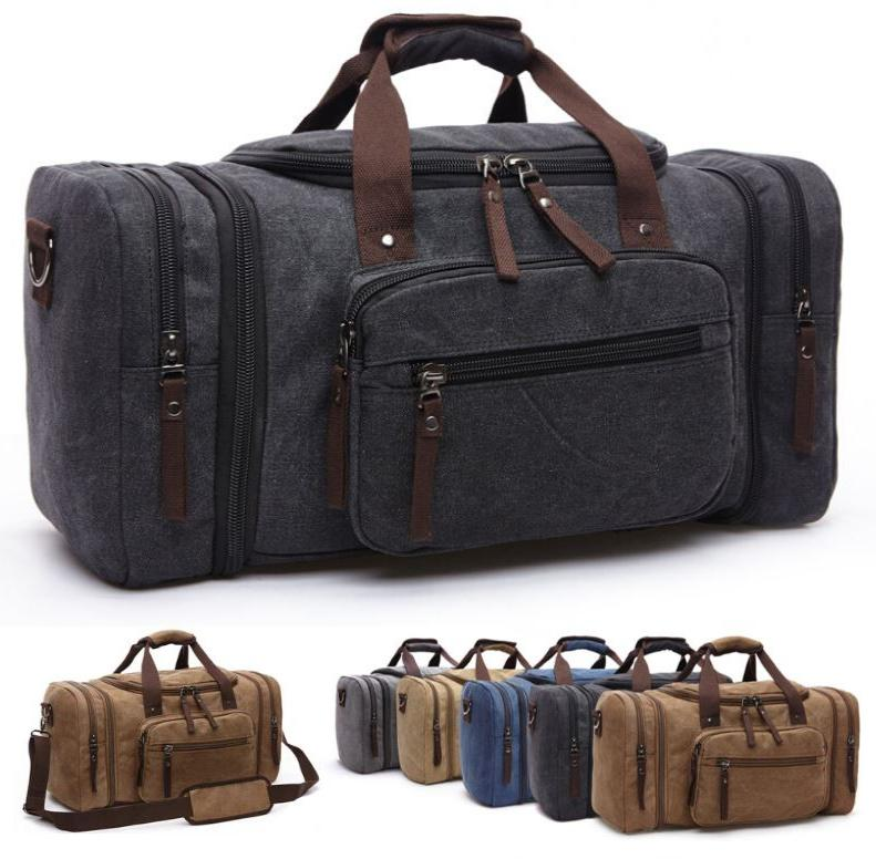 MRoyale™ Men's Canvas Expansion Duffle Weekend Travel Bag bags MRoyale™ Fashion Black