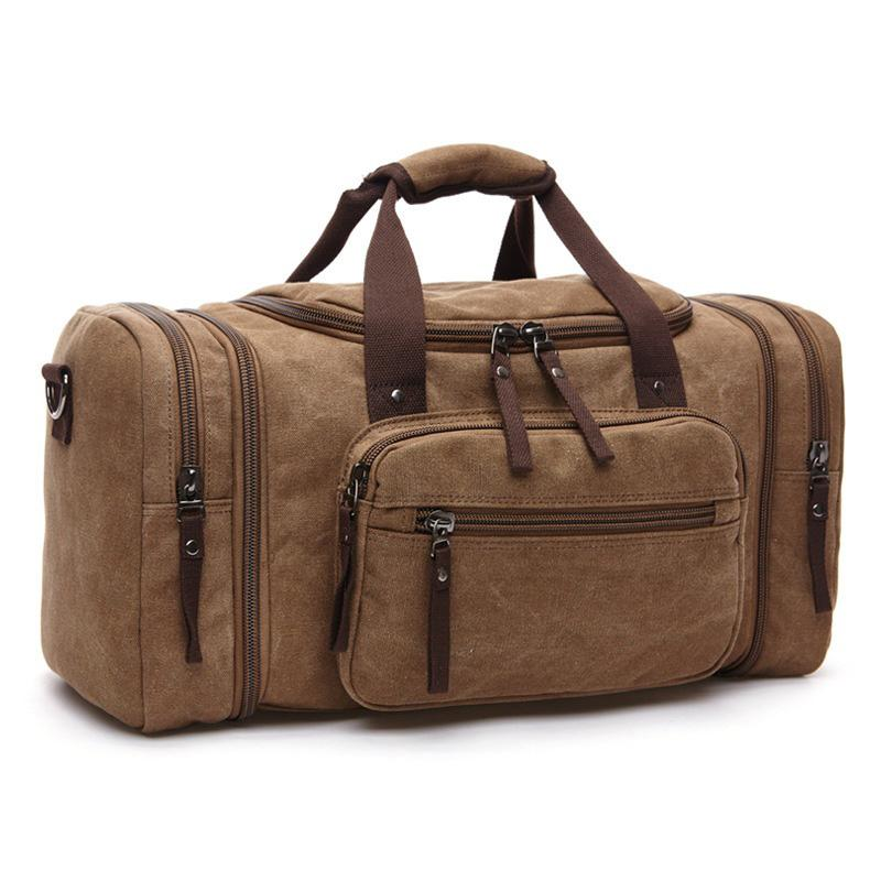 MRoyale™ Men's Canvas Expansion Duffle Weekend Travel Bag bags MRoyale™ Fashion Coffee Brown