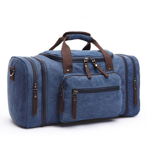 MRoyale™ Men's Canvas Expansion Duffle Weekend Travel Bag bags MRoyale™ Fashion Dark blue
