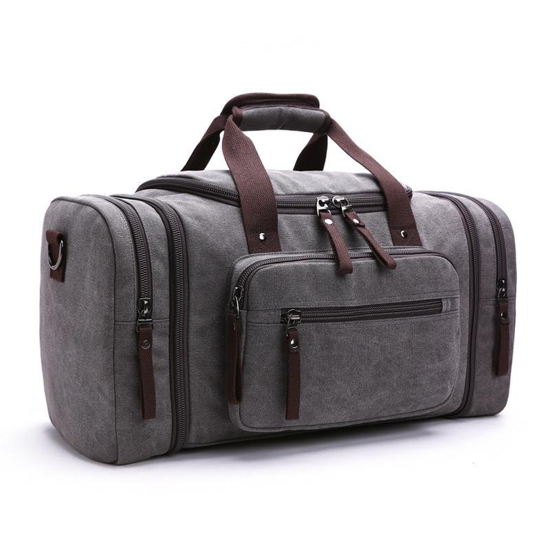MRoyale™ Men's Canvas Expansion Duffle Weekend Travel Bag bags MRoyale™ Fashion Dark gray