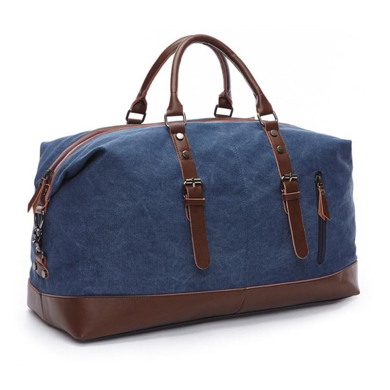 MRoyale™ Men's Canvas Leather Accent Duffle Weekend Travel Bag bags MRoyale™ Fashion Blue