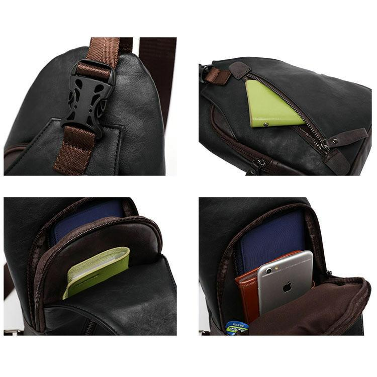 MROYALE™ Men's Leather Sling Chest Crossbody Shoulder Biker Day Bag Crossbody MRoyale™ Fashion
