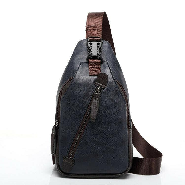 MROYALE™ Men's Leather Sling Chest Crossbody Shoulder Biker Day Bag Crossbody MRoyale™ Fashion Blue