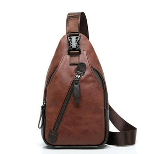 MROYALE™ Men's Leather Sling Chest Crossbody Shoulder Biker Day Bag Crossbody MRoyale™ Fashion Brown