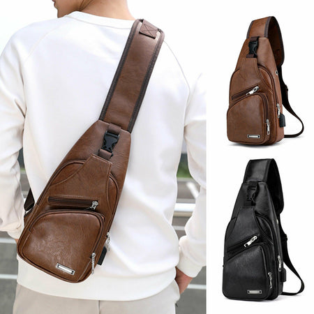 MROYALE™ Men's Leather Sling USB-Charging Chest Crossbody Shoulder Day Bag Crossbody MRoyale™ Fashion