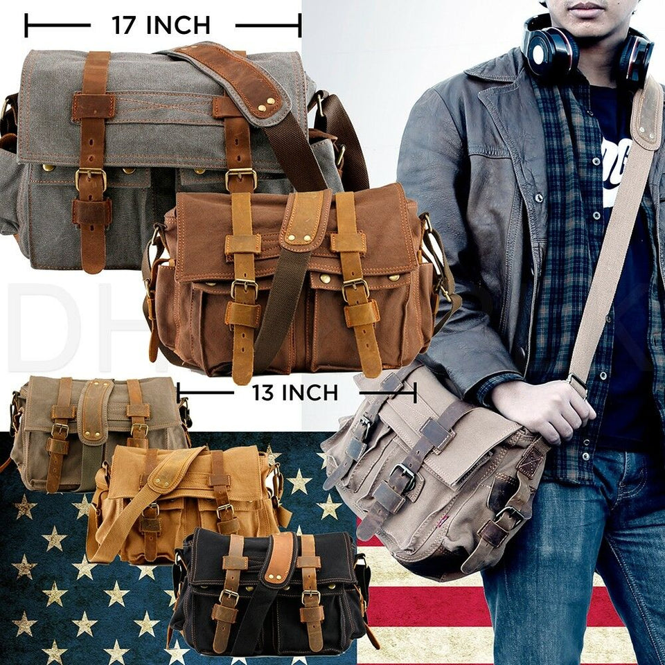 "MRoyale™ Men's Military Crossbody 14"" Laptop Messenger Canvas Leather Satchel Crossbody Bags MRoyale™ Fashion"