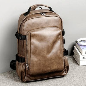 MRoyale™ Men's Retro Leather USB Charging Backpack Backpacks MRoyale™ Fashion Brown