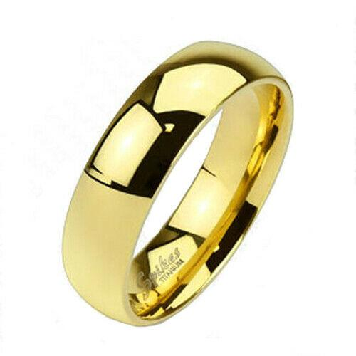 MRoyale™ Men's Solid Titanium 6/8mm Gold Plated Wedding Band Ring men's ring MRoyale™