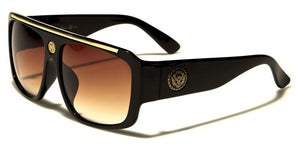 MRoyale™ Men's Square Frame Polycarbonate Sunglasses MRoyale™ Fashion Black - Gold (Amber Lens)