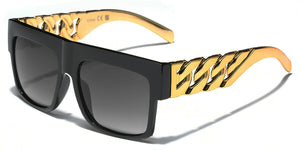 MRoyale™ Men's Square Frame Polycarbonate Sunglasses MRoyale™ Fashion Black - Link Chain Temples