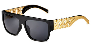 MRoyale™ Men's Square Frame Polycarbonate Sunglasses MRoyale™ Fashion Black - Solid Metal Link Chain Temples