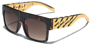 MRoyale™ Men's Square Frame Polycarbonate Sunglasses MRoyale™ Fashion Tortoise - Link Chain Temples