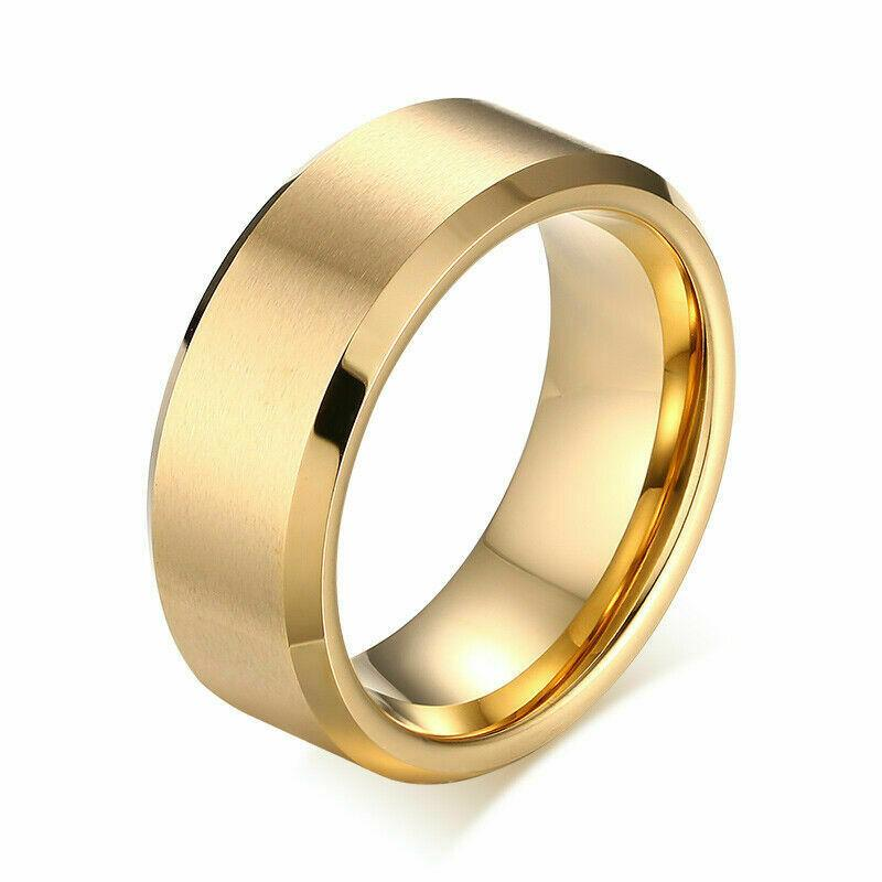 MRoyale™ Men's Stainless Steel Black/Gold/Silver Wedding Band Ring men's ring MRoyale™ 6 Gold