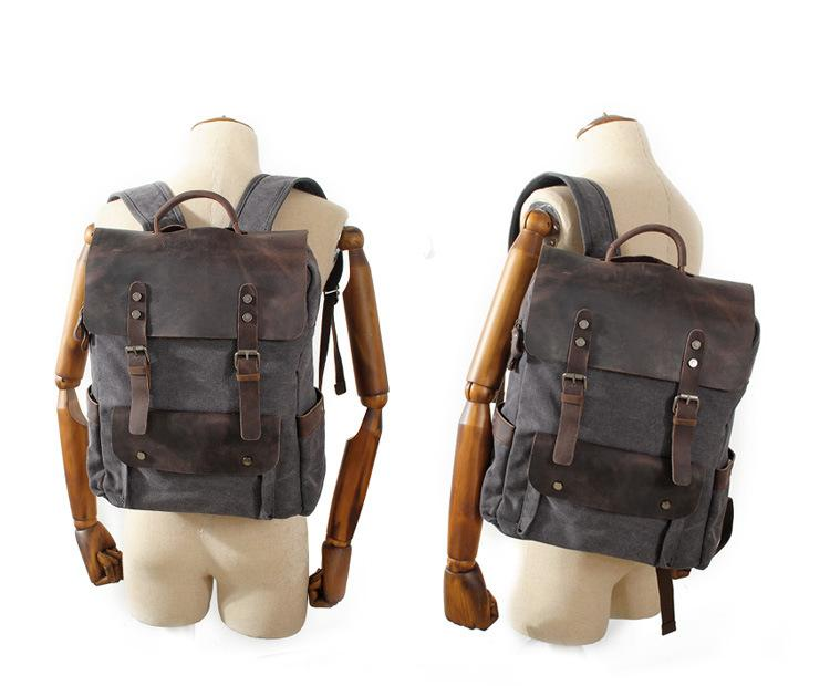 MRoyale™ Men's Vintage Leather Canvas Backpack Backpacks MRoyale™ Fashion