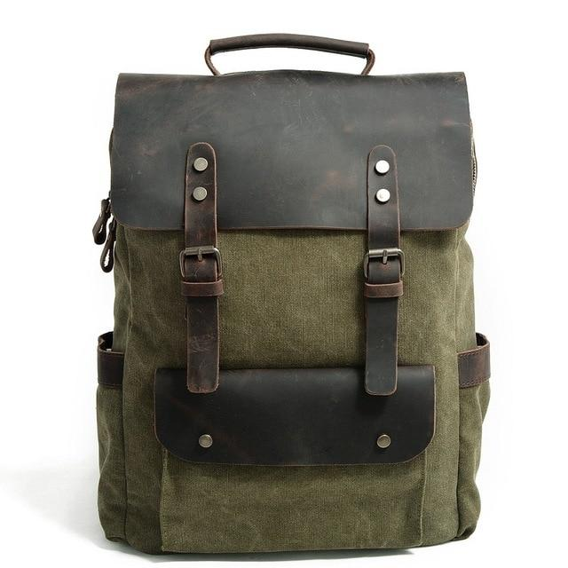 MRoyale™ Men's Vintage Leather Canvas Backpack Backpacks MRoyale™ Fashion Army Green