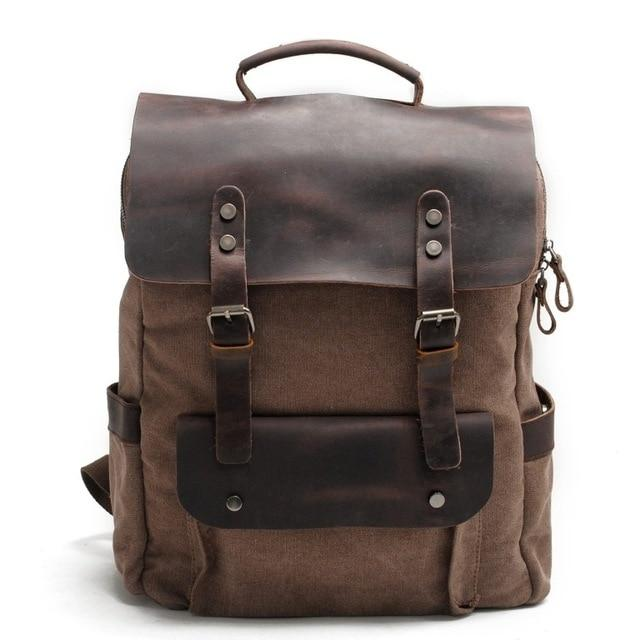 MRoyale™ Men's Vintage Leather Canvas Backpack Backpacks MRoyale™ Fashion Coffee